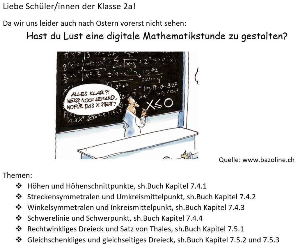 Schüler*innen der 2a unterrichten Mathematik Meinhardinum
